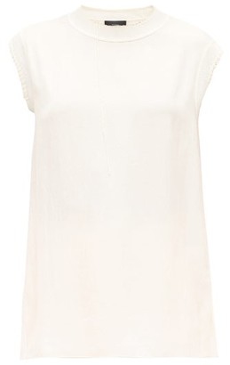 Joseph Bo Stitched Washed-twill Top - Womens - Ivory