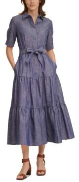 Calvin Klein Cotton Chambray Maxi Dress