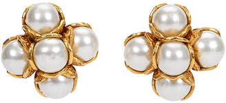 One Kings Lane Vintage Chanel Faux Mabe Pearl Clip Earrings - Vintage Lux