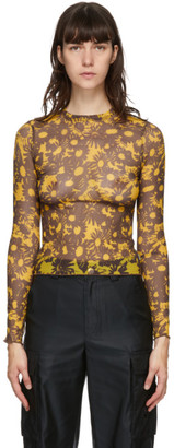 Marc Jacobs Yellow and Brown Heaven by Techno Mesh Long Sleeve T-Shirt