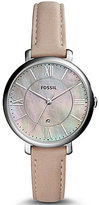 Fossil Jacqueline Three-Hand Date Leather-Strap Watch