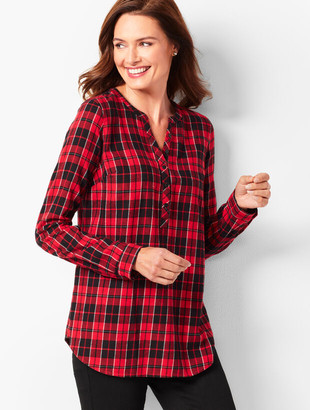 Talbots Plaid Classic Cotton Band-Collar Popover