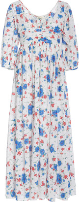 LoveShackFancy Roslyn Floral-Print Cotton-Chiffon Maxi Dress