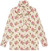 Gucci Silk shirt with Web Kisses print