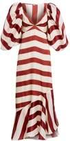Johanna Ortiz Parada En Altamar Striped Silk Puff-Sleeve Maxi Dress