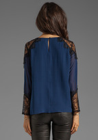 Alice + Olivia Danyelle Lace Shoulder Pleat Front Blouse