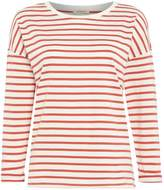 Lee Long sleeve stripe tee top in faded red