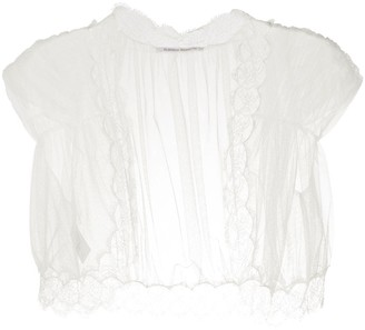 Alberta Ferretti Lace-Embellished Tulle Shawl