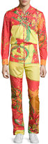 Versace Men's Long-Sleeve Abstract-Print Jumpsuit, Fuchsia/Orange