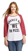 Freeze No We In Pizza Plus Graphic Raglan 3/4 Sleeve T-Shirt Burgundy/White