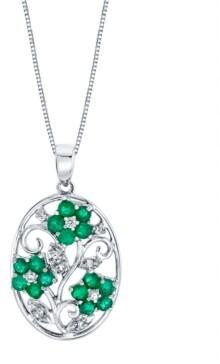 "Macy's Emerald (1-1/5 ct. t.w.) & Diamond (1/10 ct. t.w.) Flower 18"" Pendant Necklace in Sterling Silver"