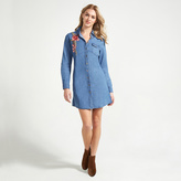 Apricot Blue Denim Look Embroidered Roses Shirt Dress