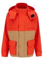 HUGO BOSS - Regular Fit Jacket In Water Repellent Waxed Cotton - Orange