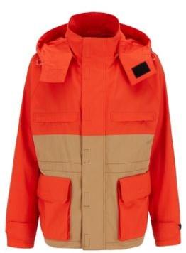 HUGO BOSS Regular Fit Jacket In Water Repellent Waxed Cotton - Orange