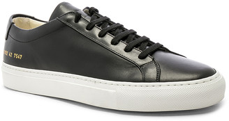 Common Projects Original Leather Achilles with White Sole in Black | FWRD