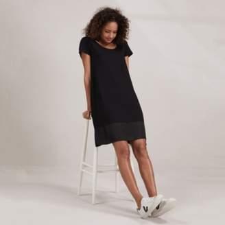 The White Company Woven Hem Jersey Dress, Black, 4