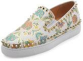 Christian Louboutin Bik Boat Floral-Print Python Sneaker, Light Gold