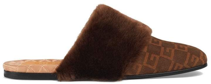 Gucci Suede Square G and synthetic fur slipper