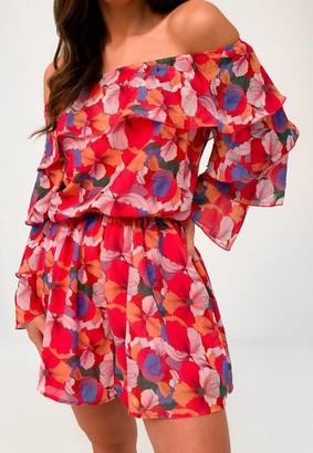 Missguided Tall Pink Floral Bardot Ruffle Romper