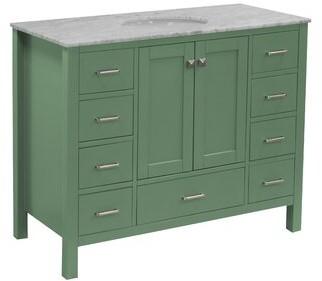 "Three Posts Aneira Full Cabinet 48"" Single Bathroom Vanity Set Base Finish: Sage Green, Top Finish: Carrara Marble"