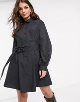 Asos Design DESIGN oversized cotton mini shirt dress with tie waist in black