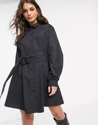 Asos DESIGN oversized cotton mini shirt dress with tie waist in black