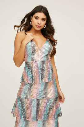 Little Mistress Trixie Rainbow Sequin Tiered Ruffle Midi Dress