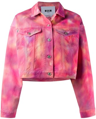 MSGM Tie-Dye Cropped Denim Jacket
