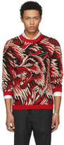 Gucci Red Guccy Wolf Intarsia Sweater