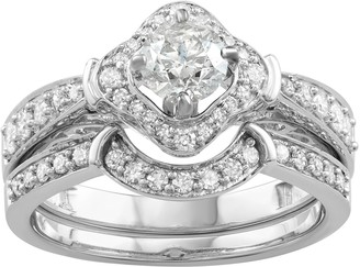 14k White Gold 1 Carat T.W. Diamond Engagement Ring Set