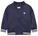 Timberland Navy Nylon Branded Windbreaker with Hood