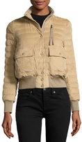 Moncler Sile Quilted Suede Jacket, Beige