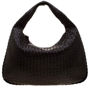 Bottega Veneta Black Intrecciato Nappa Leather Medium Veneta Hobo