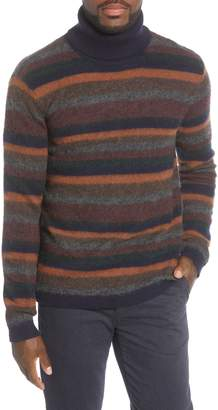 NN07 John 6352 Slim Fit Stripe Wool Blend Turtleneck Sweater