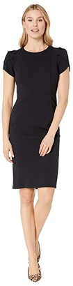 Donna Morgan Tulip Sleeve Crew Neck Sheath Dress (Marine Navy) Women's Dress