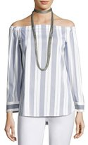 Lafayette 148 New York Natayla Striped Stretch-Cotton Off-the-Shoulder Blouse, Multi