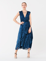 Diane von Furstenberg Delaney Satin Devore Midi Dress