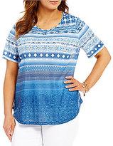 Allison Daley Plus Wide Crew-Neck Blue Stripe Print Knit Top