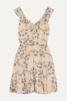 Chloé Ruffled Metallic Floral-print Silk-jacquard Mini Dress - Pink