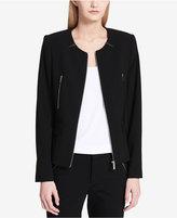 Calvin Klein Faux-Leather-Trim Moto Jacket