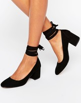 London Rebel Tie Ankle Kitten heel Shoe