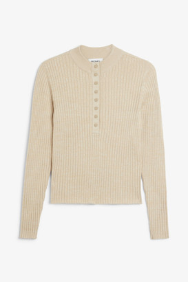Monki Ribbed button-up top