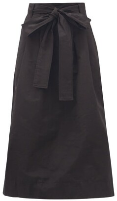 STAUD Snoop Belted Cotton-blend Twill Midi Skirt - Black