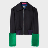 Paul Smith Women's Navy Wool-Cashmere Bomber Jacket With Faux-Fur Cuffs