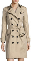 Burberry Sandringham Double-Breasted Mid-Length Trench Coat, Neutral