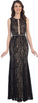 Cindy Black Sleeveless Lace Keyhole Long Dress For Prom 2017