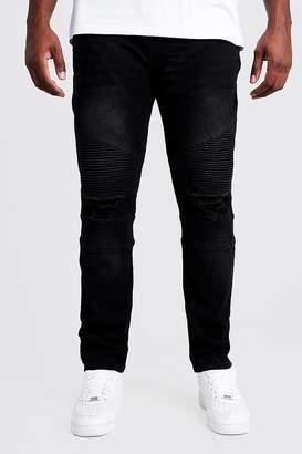 BoohoomanBoohooMAN Mens Black Big & Tall Biker Detail Skinny Fit Jean, Black