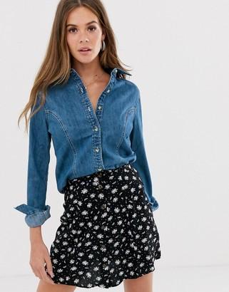 Asos Design DESIGN Denim fitted western shirt in midwash blue