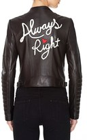 Alice + Olivia 'Gamma' Embroidered Leather Jacket