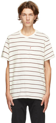 Levi's Levis White and Red Stripe Pocket T-Shirt